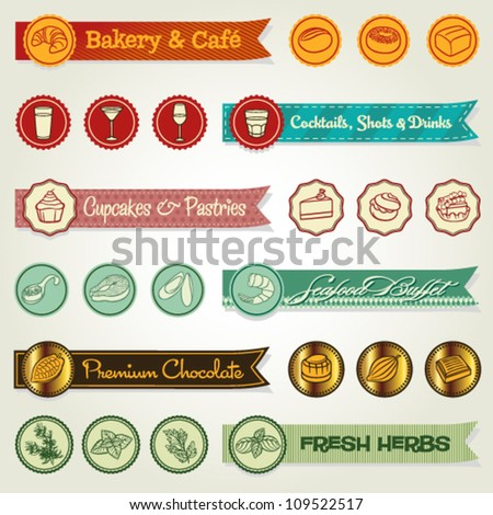 A set of colorful ribbons and icons. Clean ribbons but with a touch of retro style. - stock vector