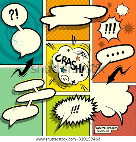 A set of colourful and retro comic speech bubbles. - stock vector