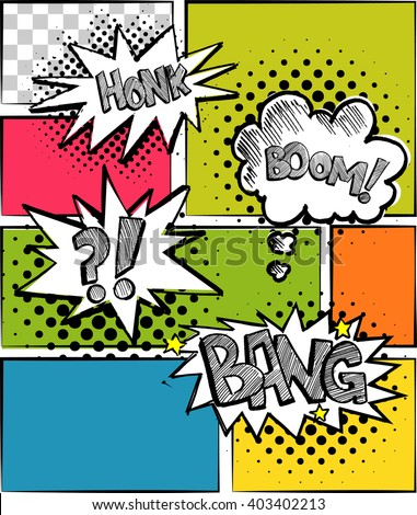 A set of comic bubbles and elements multicolored comic sound Effects with halftone shadows. - stock vector