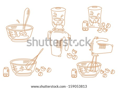 A set of cooking icons about whipping eggs - stock vector