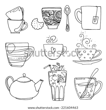 A set of cups, tea and coffee-loop vector, doodle on a white background - stock vector