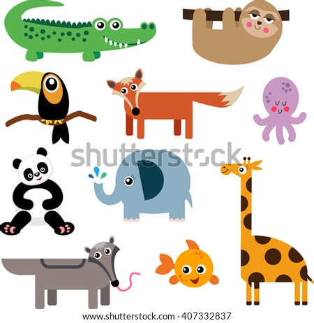 A Set of Cute Animal Icons - stock vector
