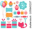 A set of cute birthday elements - stock vector