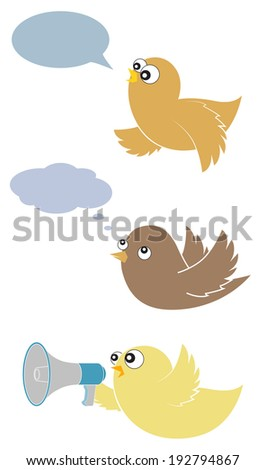 A set of cute cartoon birds with messages, text bubbles and loudspeaker - stock vector