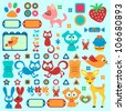 A set of cute decorative elements with animals - stock vector