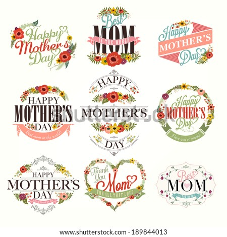 A Set Of Cute Greeting Design Elements For Mother's Day With Flowers - stock vector