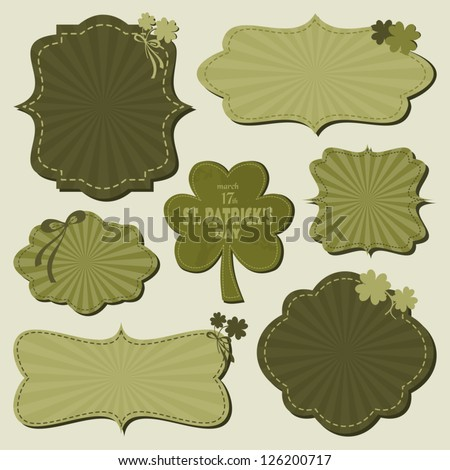 A set of cute St. Patrick's Day themed labels in green. - stock vector