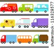 A set of cute Vector Icons : Van / Truck Vehicles / Freight Transportation - stock vector