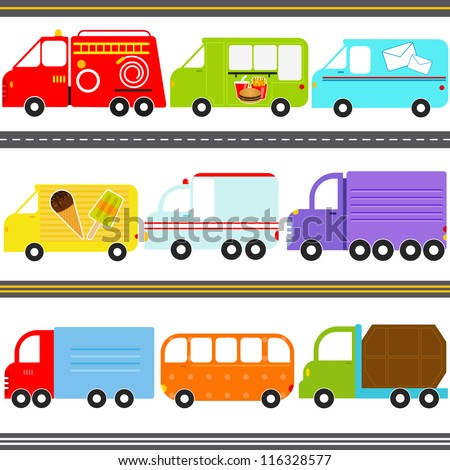 Set of cute vector icons van truck vehicles freight
