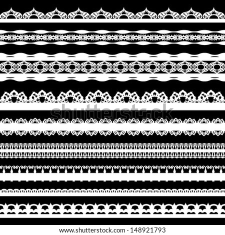 A set of cute white lace ribbons on a black background. Vector illustration - stock vector