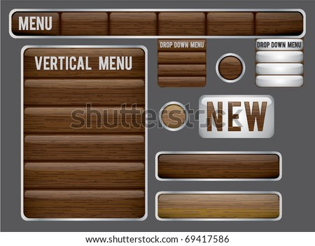 A set of dark wood website elements, drop down menus, buttons, and a new sign. Modern and masculine. - stock vector