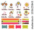 A set of decorative elements with flowers - stock vector