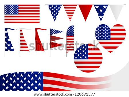 A set of decorative USA flag - stock vector