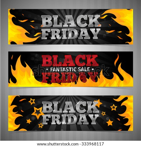 A set of design templates horizontal  web banners, coupon, poster for Black Friday. Volume text with background and pattern of fire. Vector - stock vector