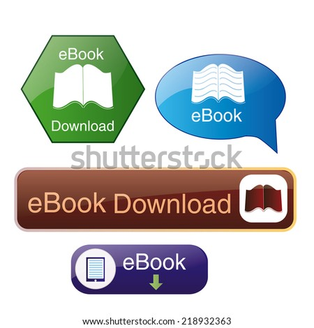a set of different colored icons for ebook download buttons - stock vector