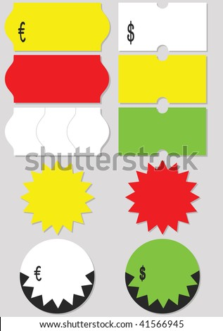 A set of different price tags (labels). All objects and details are isolated. Colors and gray background color are easy to adjust/customize. - stock vector