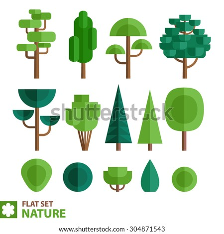 A set of different species of trees and shrubs in a flat style. Deciduous and coniferous trees and bushes in a flat style. - stock vector