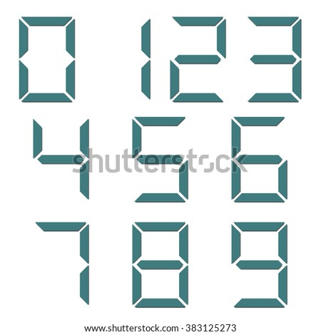 A set of digital numbers isolated on white background, vector illustration. - stock vector