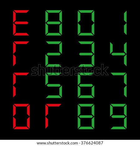 A set of digital numbers on a black background, vector illustration. - stock vector