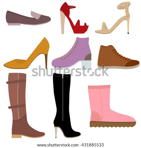 A set of drawings of women's shoes on a white background. Icons of fashionable women's shoes. Womens shoes vector. Color images of women's shoes. Collection picture women shoes. Seasonal women shoes. - stock vector