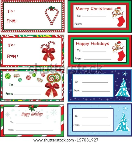 A set of eight Christmas gift tags, vector format. - stock vector