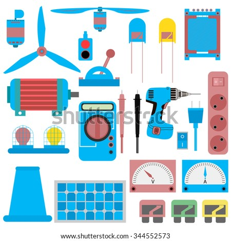 a set of electrical parts, appliances , electric motor, led, solar panels, fuses, plug and receptacle, switch, light, vibrator, transformer and more. vector illustration - stock vector