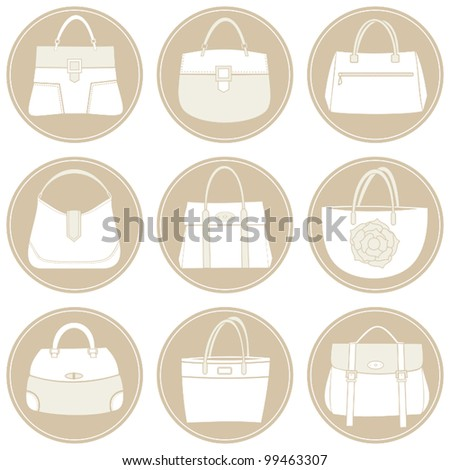 A set of 6 elegant female bags icons in white and beige. - stock vector