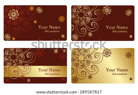 A set of elegant templates with floral elements for cards, invitations, postcards. Color gold and brown. Vector  illustration - stock vector