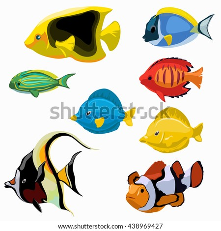 A set of exotic fish isolated on white background. Vector illustration. - stock vector