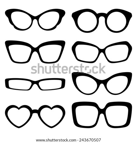A set of fashionable glasses, isolated on white background. Vector illustration - stock vector