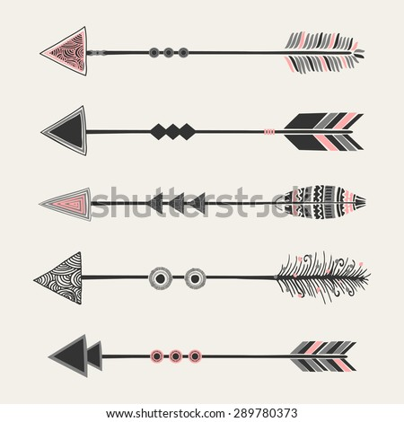 A set of five arrows with tribal decoration in pastel pink and gray on cream background - stock vector