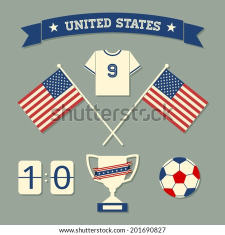 A set of flat design US soccer icons and symbols in blue, white and red. - stock vector