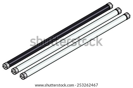 A set of fluorescent tubes / bulbs with one black light. - stock vector