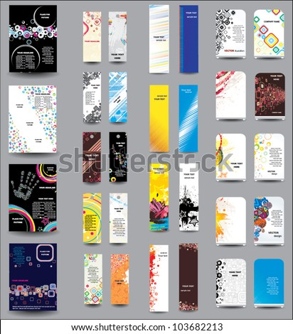 A set of flyers , banners , labels, roll-up - stock vector