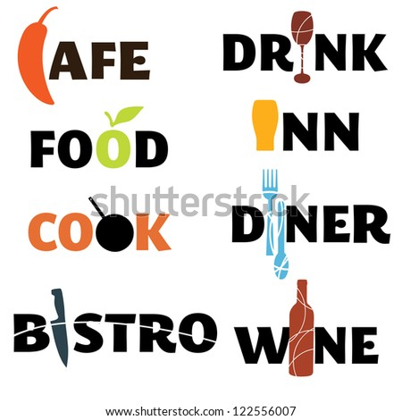 A set of food and drink themed word graphics - stock vector
