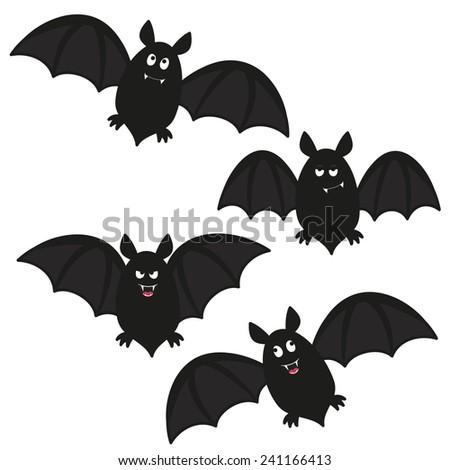 a set of four flying cartoon bats - stock vector
