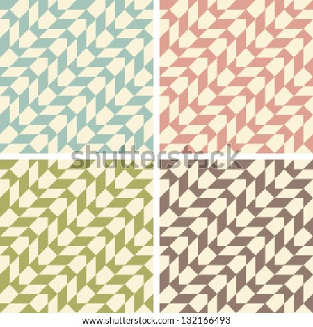 a set of four geometric patterns on a beige background - stock vector