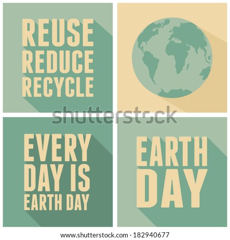 A set of four long shadow card designs for Earth Day. - stock vector