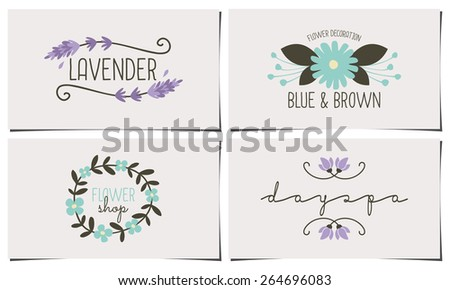 A set of four stylish and elegant business card templates. Hand drawn floral design elements in pastel blue, violet and dark brown. Fashion, florist, spa, beauty salon design identity concepts. - stock vector
