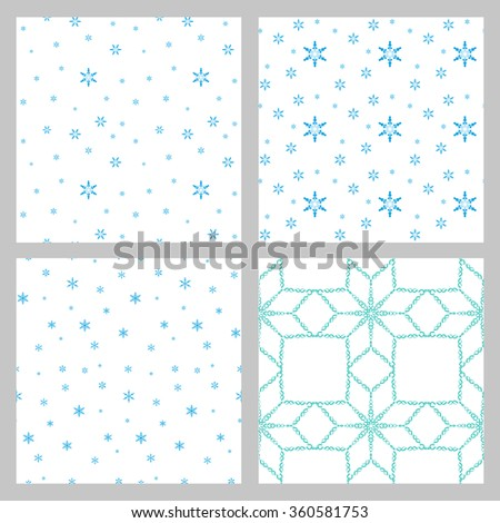 A set of four winter frosty background in blue tones. Abstract background. - stock vector