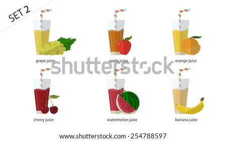 A set of fresh isolated fruit  juices: the juice of green grapes, Apple juice, orange juice, banana juice, cherry juice, watermelon juice. 6 cups of juice. - stock vector