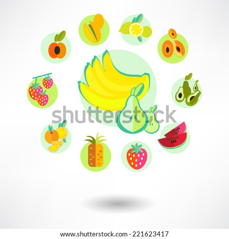A set of fruit icons. - stock vector