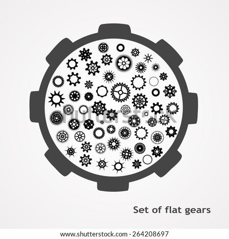 a set of gears in flet style. Vector illustration  - stock vector