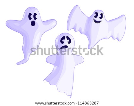A set of 3 Ghosts. - stock vector