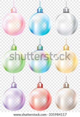 A set of glass Christmas baubles in various colors. - stock vector