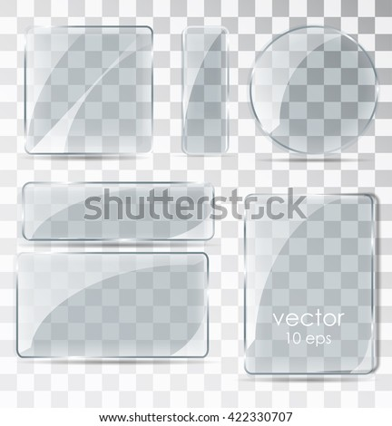 A set of glass plates. Flat glass with glare. Glass frame isolated on a transparent background. Vector illustration - stock vector