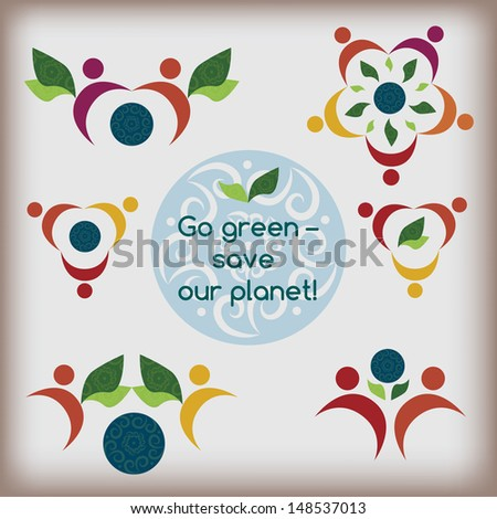 """A set of """"go green"""" compact vector ornamental logos with conceptual green guradian angels holding the Earth - stock vector"""