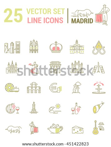 A set of graphical linear and flat icons with symbols of Madrid. Colletia infographics and silhouettes of culture of Spain for map design, web sites, mobile applications. - stock vector