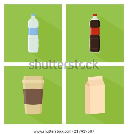 a set of green backgrounds with different drinks and beverages - stock vector