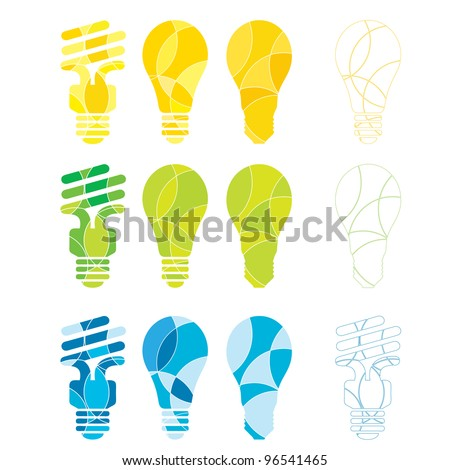 A set of green blue and yellow light bulb illustrations - stock vector